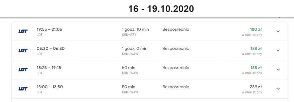 Ceny lotów Kraków - Olsztyn