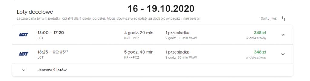 Ceny lotów Kraków - Poznań